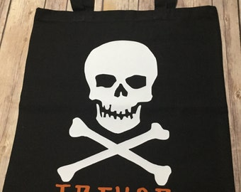 Skull personalized name Halloween trick or treat Tote Bag