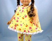 18 Inch Doll Clothes - Pajamas Fit American Girl - Doll Clothing - Yellow and Pink Floral