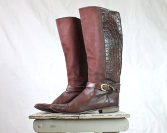 Vintage Italian Rustic Leather Campus Boots Sz 9.5