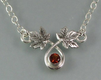 Maple leaf necklace - citrine necklace - artisan woodland necklace - November birthstone -nature inspired metalsmith necklace -elven jewelry