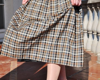 Vintage Checkered Plaid Pleated Skirt