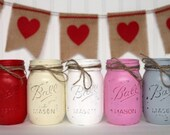 Rustic Vintage Painted Pint-Sized Mason Jar - Valentine Set of Five