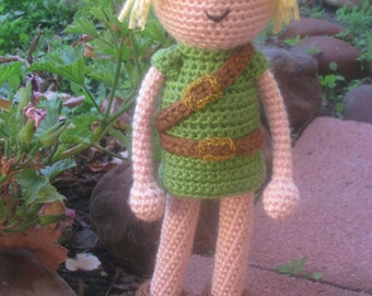 Crochet Link Inspired Doll, Plush Stuffed Toy Children Gift Geekery Video Game Triforce Comic Con Cosplay MADE TO ORDER