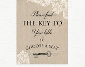 """Wedding Lace & Linen Find the key to your table seat Sign 8x10"""" Printable - Instant download"""