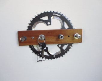 Ucycled Bicycle and Reclaimed Wood Accessories , Recycled Bike Gear Key Rack ,