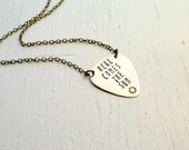 SALE Here Comes the Sun Brass Guitar Pick Necklace