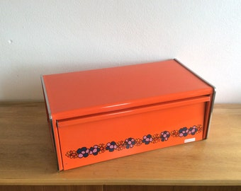 Vintage Seventies Dutch Brabantia Diana orange square shouldered tin metal bread box with chrome trim and floral decor