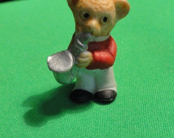 B190)  Vintage Porcelain Miniature Bear playing Sax marked Germany