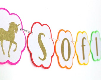 Unicorn Banner-Rainbow & Gold Banner- Gold banner-Glitter Gold Birthday Banner-Unicorn birthday-rainbow banner-rainbow birthday-