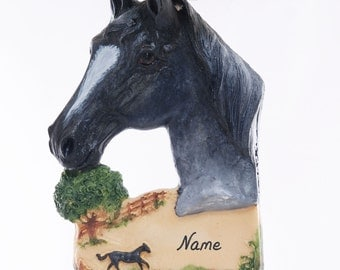 Blue Roan Horse Christmas Ornament Personalized Free with Your Choice of Name and Year Handmade in the USA Perfect horse lovers gift (168)