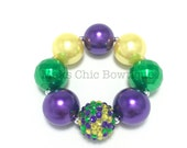 Toddler or Girls Purple and Green Confetti Sparkle Chunky bracelet - Purple, Green and Yellow pearl bracelet - Kids Mardi Gras bracelet