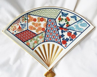 Vintage MIKADO Chinoserie Fan Shaped Plate JAPAN