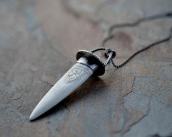 Talisman necklace. Vintage scrimshaw. Carved bone spear. Mixed metal. 2 stone pendant. Tattoo Flash inspired. Homeward bound.