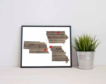 Three States Love Connection Art Print - Wedding - Personalized State Heart Natural Series - Custom Location Modern Art Print  Distance