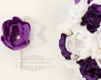 boutonniere for purple white peony brooch bouquet