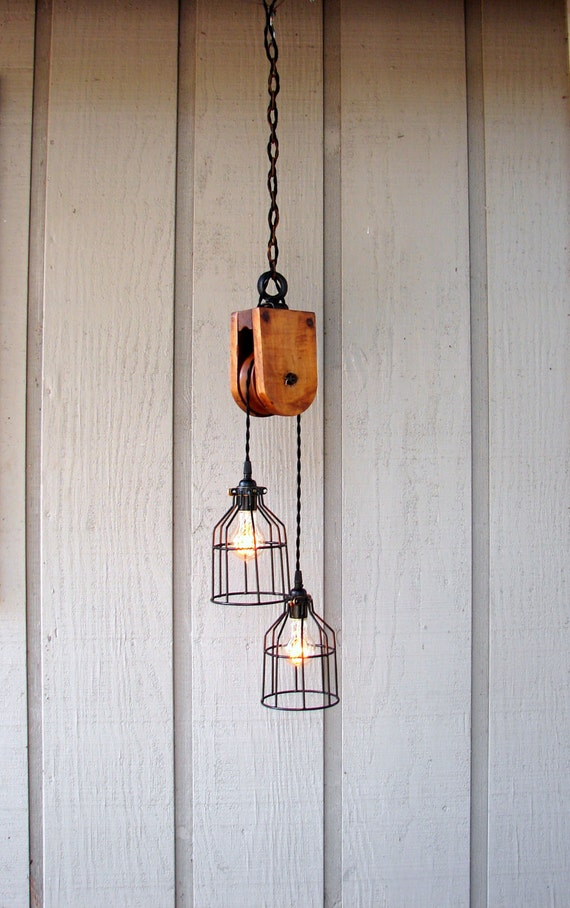 Lighting - Industrial Lighting - Pendant Lighting - Ceiling Lighting - Upcycled Vintage Wooden Pulley
