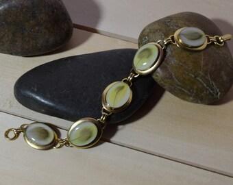 5 Oval Gold Budgerigar Parakeet Charm Bracelet