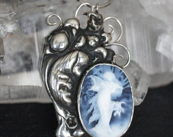 Spring~Sterling Silver Mucha Cameo Pendant, Statement Necklace