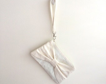 Bow Clutch, Ivory Linen *SALE*
