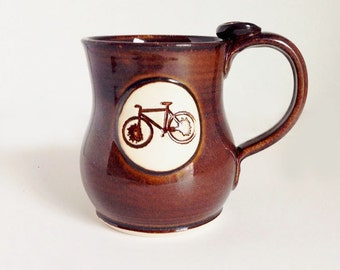 Large Bike Mug- Brown - Bike Mug - Made when Ordered