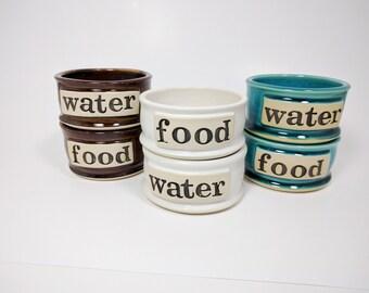 Large Dog Bowl Set, Pick Color, Dog Bowls, Personalized