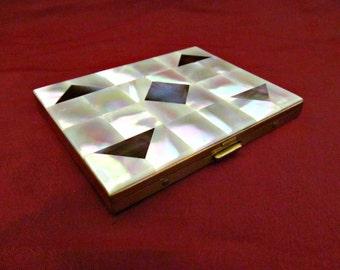 Vintage Art Deco Mother of Pearl Shell Cigarette Case Goldtone Metal Calling Card Case Compact Business Card Holder
