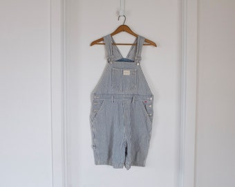 vintage cotton striped overall shorts