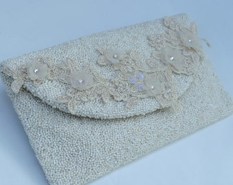 Ivory Bridal Clutch, Beaded Purse,  Envelope Clutch, Wedding Purse