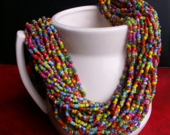 Multi Color Seed Bead Thick Torsade Necklace Colorful Statement Jewelry