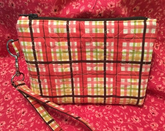 Wristlet, Cosmetic Bag, Purse Organizer, Free Motion Quilted, Plaid, Pink, Brown
