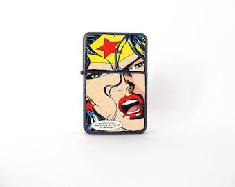 Wonder woman lighter, pop art illustration lighter, pop art lighter, Wonder Woman collectable, groomsman gift, pop art gift, Star lighter