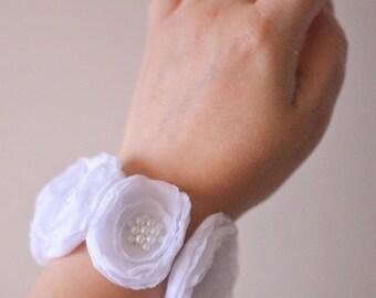 Flower Wrist Corsage, Wedding Floral Bracelet, Prom Corsage, Wedding Accessories, White Chiffon Flower Corsage, Bridesmaids Gift, Pearls
