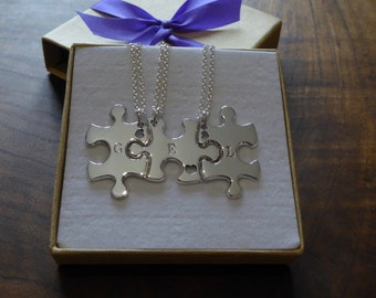 Three Puzzle Heart Pieces, Best Friends Necklace Pendants with Hearts