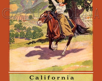 Vintage California COWGIRL Quarter Horse Equestrian Railroad Train Travel Orchard Farm Advertising Poster Fine Art Print