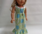 18 inch Girl Doll Clothes - Maxi Dress- sleeveles Dress with Tank Top and Necklace