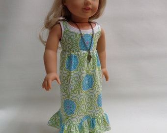 18 inch American Girl Doll Clothes - Maxi Dress- sleeveles Dress with Tank Top and Necklace