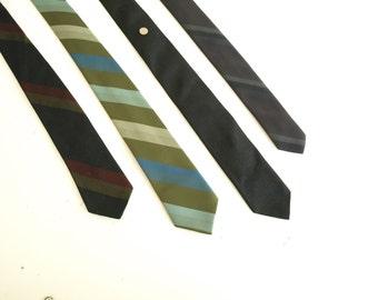 Set of 4 vintage men's skinny 50s neckties ties neck ties retro