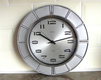 Vintage Metamec Wall Clock - Original Quartz Movement - Silver Coloured Wall Clock