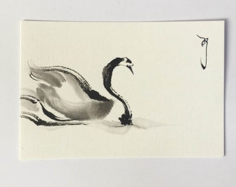 ink drawing, ink art, Japanese art,  swan art, swan drawing, animal art, animal drawing, Bird art, Bird drawing, mini art, swan lake,
