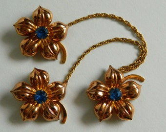 Pretty 1940's or 1950's Gold Filled 3 Flower Brooch with Blue Rhinestone Accents- Grandma Chic Van Dell Style Chain Sweater Clip Guard