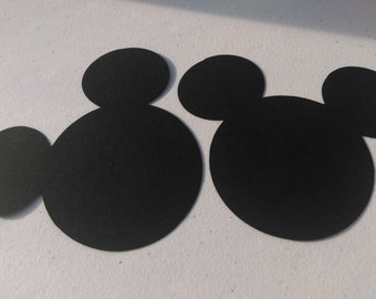 8 Mickey Mouse Heads - 5 inches - Cardstock Die Cuts for Scrapbooking, Cupcake Toppers, Tags
