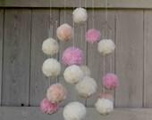 CUSTOM MOBILE for Tessa: Baby Mobile, Pom Pom, Chandelier, Mobile Baby, Crib Mobile, Nursery Mobile, Rose Quartz Peach Cream + Gray