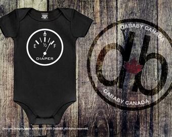 Funny Baby Shower gift, Funny Baby Onesie, Diaper Full Gauge Bodysuit, Black Onesie, Take Home Hospital Newborn Baby Shower Gift