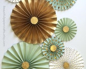 Mint Green Loves Gold Glitter || Gold Rosette Centerpieces || Mint and Gold Bridal Shower || Paper Fans || Pinwheels || Candy Buffet Decor
