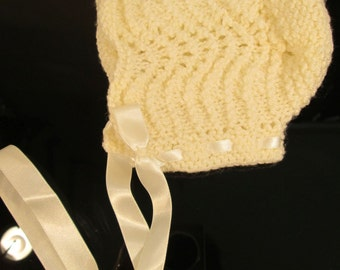 Cream - Baby bonnet made from Victorian pattern, 15 - 18ins FREE p&p in UK