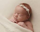 NEUTRAL COLLECTION ~ Newborn Tieback, Newborn Headband, Newborn Photo Prop, Newborn Crown, Newborn Halo, Simple, Single Flower, Organic