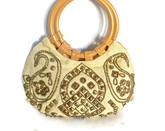 Vintage Moyna Purse Brass Studded Ring Handles Boho Chic
