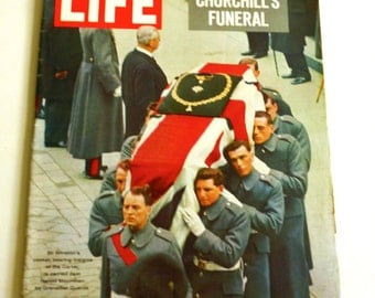Vintage Issue Life Magazine February 5 1965  Winston Churchill's Funeral