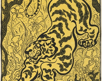 European Master Print Reproductions: Tiger in the Jungle (Tigre dans les jungles), 1893 by Paul Ranson. Fine Art Print.