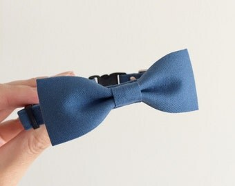 Slate Blue Cat Bow Tie Collar